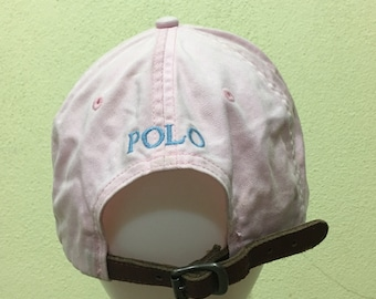 a1a85c8cb27 Vintage Polo by Ralph Lauren Cap Polo Hat Cap Leather Adjustable Small Pony  Spellout Embroidery Soft Pink Strap