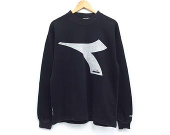 Vintage Diadora Big Print Logo Sweatshirt Black