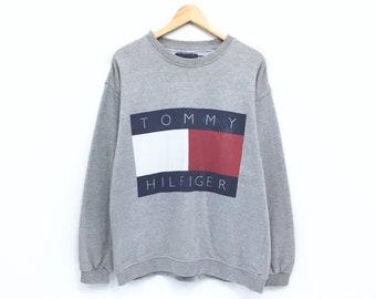 f07933e2 Vintage Tommy Hilfiger Sweatshirt Big Logo Print Tommy Hilfiger Jeans  Spellout Pullover Jumper Sweater