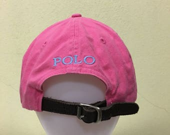 39a34049a Vintage Polo by Ralph Lauren Cap Polo Hat Cap Leather Adjustable Big Pony  Spellout Embroidery Strap