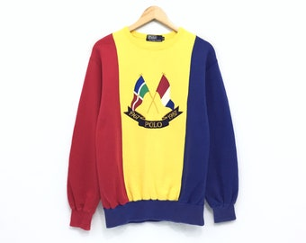 cdfe3b078 Vintage 80s Polo by Ralph Lauren Sweatshirt Cross Flag Embroidery 3 colour  Bear Stadium Sportsman Ski Pwing cookie crest 1987