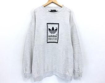 a668a93eed Vintage Adidas Sweatshirt Adidas Stripes Big Logo Embroidery Spellout  Sportwear hip hop swag