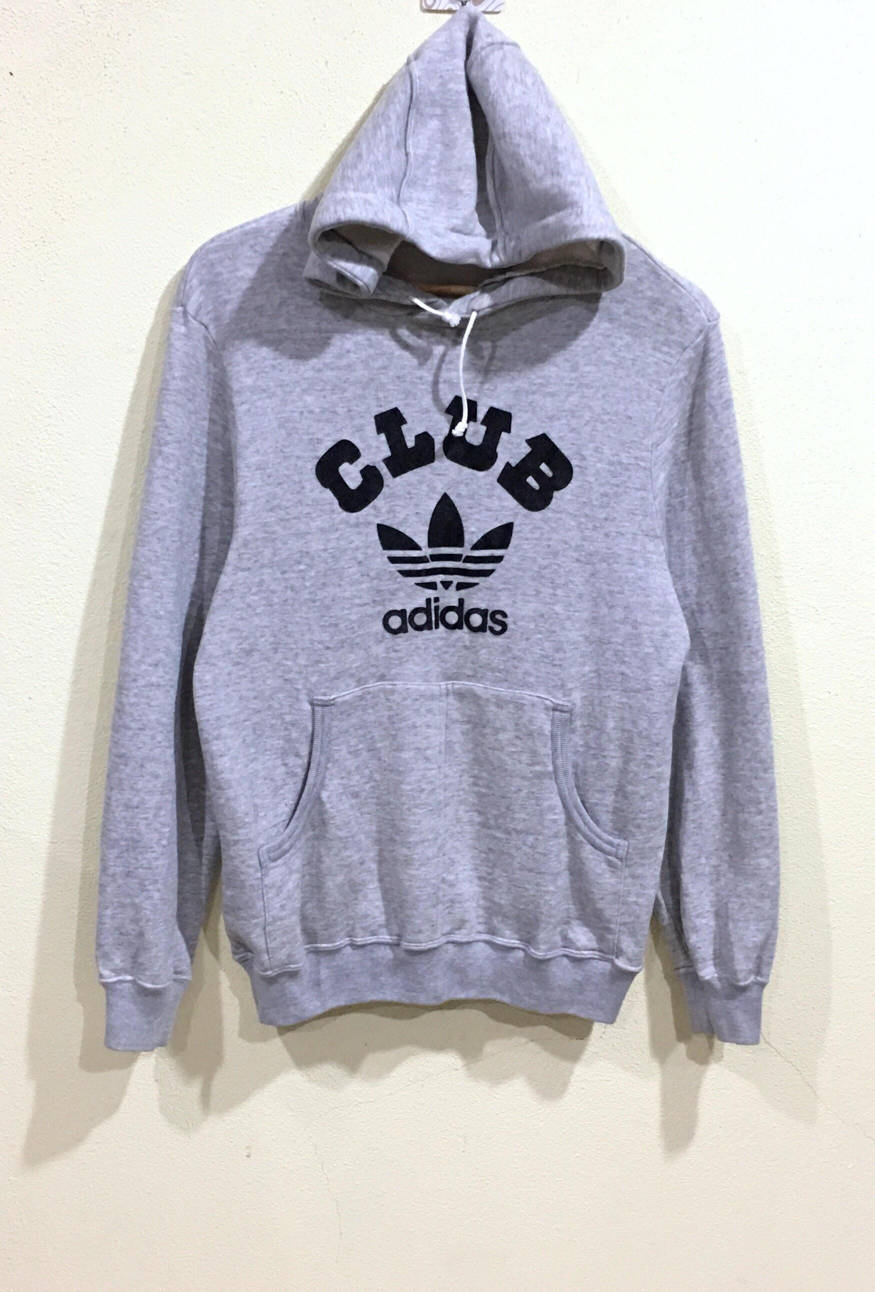 Rara!!! Vintage años 80 años 90 Adidas sudadera con capucha Adidas Club Logo grande Jersey Spellout puente suéter Hip Hop botín Sportwear