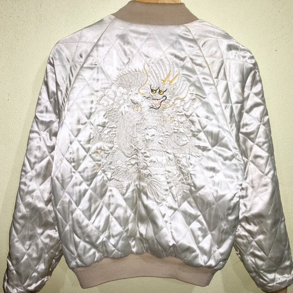 Cream Sukajan Dragon Bomber Soda Velvet Jacket Japanese Giesha Souvenir Reversible Quilted Embroidery Pink Japanese Tiger Dragon Vintage ATqZUZ