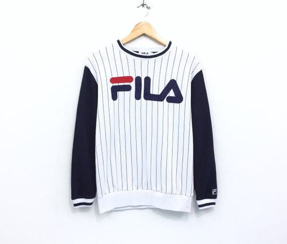 Rare!!! Vintage Fila Sweatshirt Stripes Big Logo S