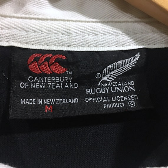 Zealand Polos Long Excellent All Og Sleeve Canterbury Rare Spellout Steinlager Rugby Embroidery Medium Vintage Black New Button AW4vtq4ywR