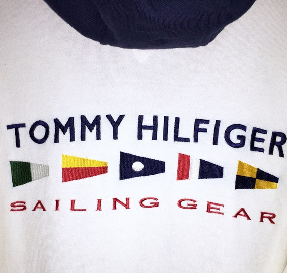 Embroidery Gear Size 44 Yacht Flag Outdoor Pullover Tommy Hoodie Large 840 Hilfiger Sailing Vintage Sweater Spellout 4qASW