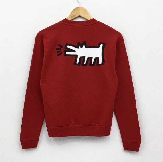 Pullover Barking Sweatshirt And Vintage Haring Keith 90's Rare Art Baby Deadstock Disign Pop Made Dog Jerzees USA Radiant Jumper Red 1xzqvOnw