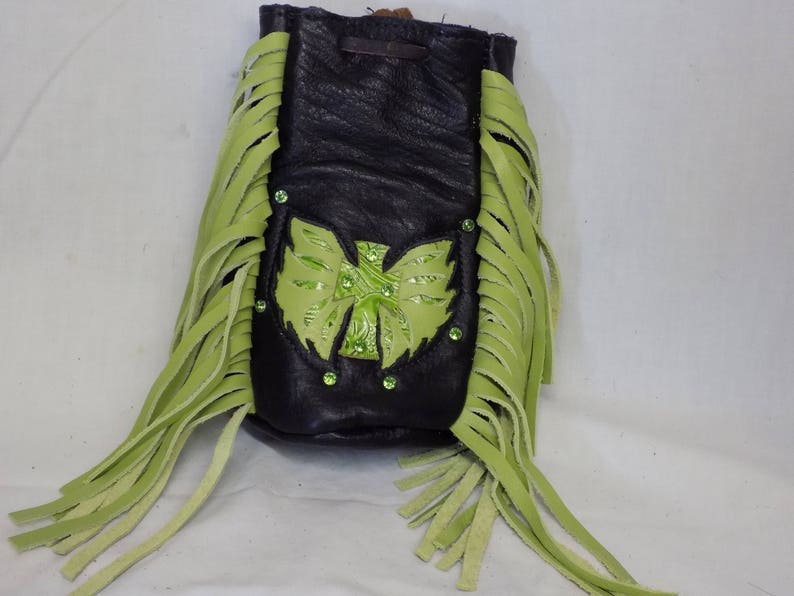 LIme Green Motorcycle Purse with Cross and Wings
