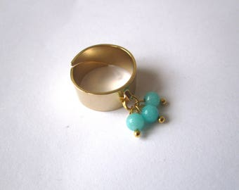 Ring large turquoise beads