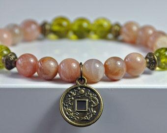 Success Bracelet,Sunstone, Peridot,Lucky Coin Mala Gemstone Bracelet,Chakra  Bracelet,Buddhist Jewelry,Healing Meditation,Buddha Yoga Mala f7891295a69