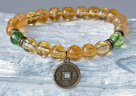 Success and Prosperity Citrine Peridot Lucky Coin Bracelet   Etsy da91bd4d666
