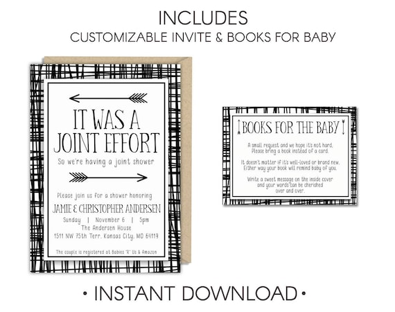 Joint Effort Shower Baby Girl Baby Shower Couples Baby Shower Etsy