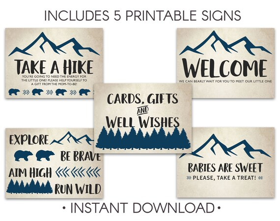 Camping Shower Baby Shower Signs Mountains Baby Shower Decor Etsy