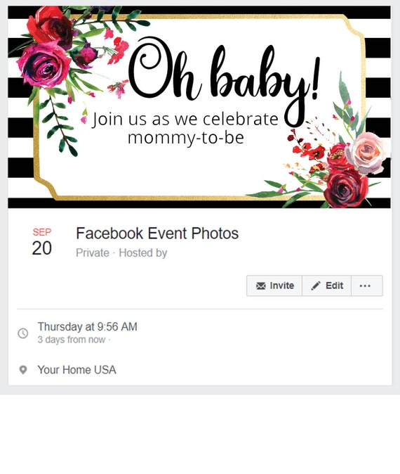Black White Floral Baby Shower Facebook Cover Pink Flower Baby Etsy