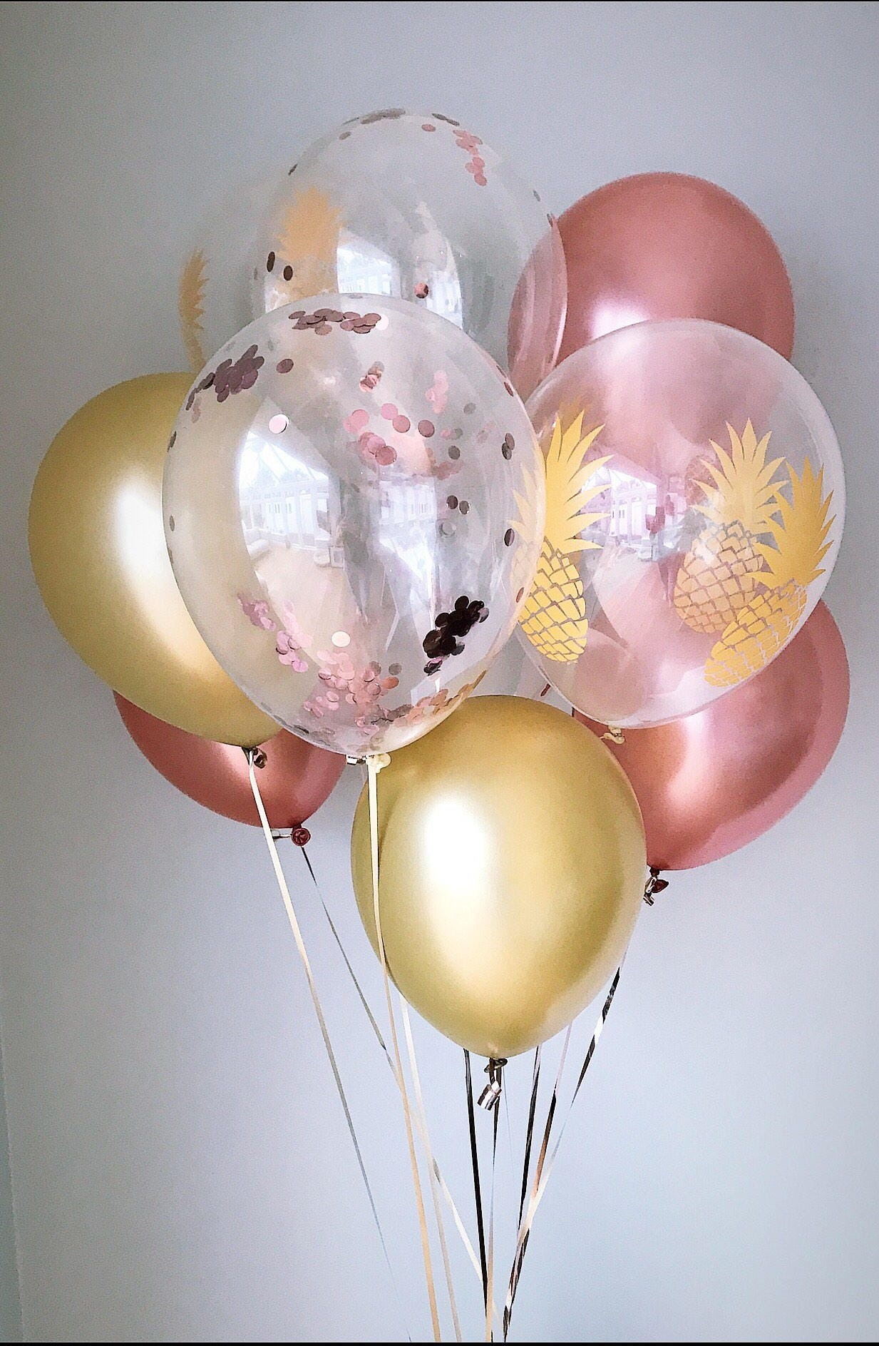 Rose Gold Balloons Confetti Pineapple Hen Do