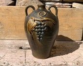 Beautifully Decorated Anita Meaders Double Handled Grape Jug Decorated on Both Faces - Wood-Fired