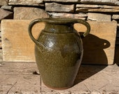 Michael Crocker Hand Thrown 10 1 4 quot Tall Vase or Jar with Green Drip Glaze and Double Twist Handle w Combed Sgraffito Decoration