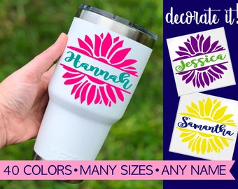 Flower Name Decal | Yeti Decal Floral | Flower Border Decal | Flower Decal | Yeti Decal for Women | Cup Decal for Women | Decal Flower 5FN1Y