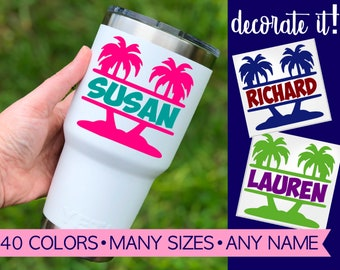 Palm Tree Decal for Tumbler, Palm Tree Yeti Sticker, Palm Tree Yeti Cup Decal Perfect for Your Beach Vacation 5SU23Y