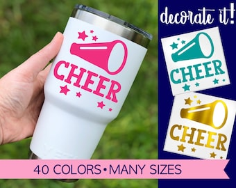 Cheer Decal with Megaphone used for labeling any hard, smooth surface such as cups, tumblers, planners, school supplies, etc.  5SP1Y