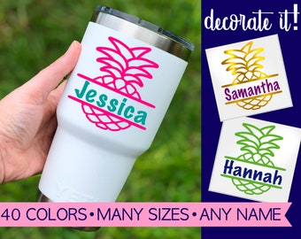Personalized Pineapple Decal for Yeti Cup Tumbler, Pineapple Decal with Name 5SU16Y