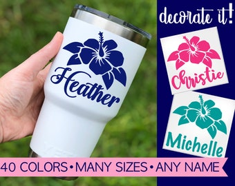 Flower Cup Decal   Flower Tumbler Decal   Flower Yeti Decal   Flower Yeti Cup   Personalized Flower Decal Sticker for labeling 5FN6Y