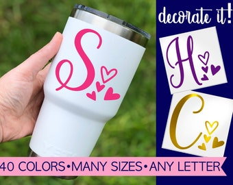 Letter with Heart Decals for Tumblers   Fancy Letter Decal   Fancy Letter Sticker   Fancy Decal Cup Letters   Personalized Sticker 5LN17Y