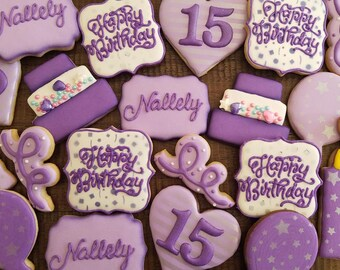 One (1) dozen Birthday cookies.  (Can be customized)