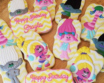 one (1) dozen Trolls cookies