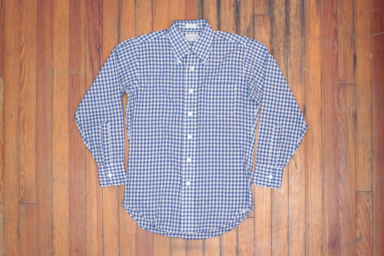 1960s – 70s Men's Ties | Skinny Ties, Slim Ties Vintage 1960S Gingham Dress Shirt - Blue White Oxford Retro Office Formal Long Sleeve Button Down-Ivy Trad Prep- Mens Size 15 32 Medium Med $34.00 AT vintagedancer.com