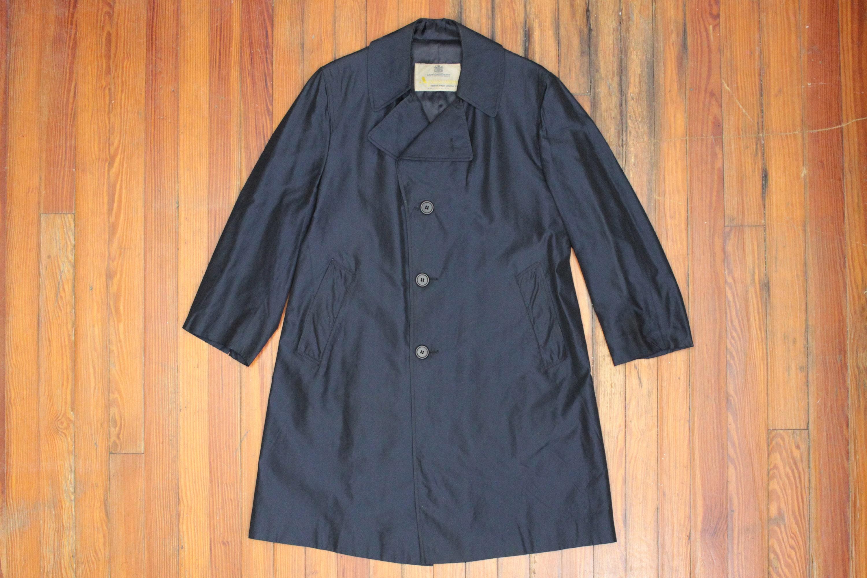 1960s – 70s Men's Ties | Skinny Ties, Slim Ties Blue Silk Aquascutum Trench Coat - Formal Winter Over Rain Overcoat-Preppy Trad Ivy League Style Heritage Mens Size 42 S Large Short $160.00 AT vintagedancer.com
