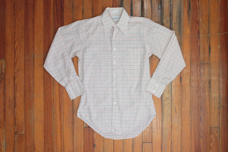 1970s Men's Shirt Styles – Vintage 70s Shirts for Guys Vintage 1970S Club Shirt - Stripes Knit Gold Dress Office Formal Long Sleeve Button Down-Ivy Trad Prep Mens Size Medium Med $32.00 AT vintagedancer.com