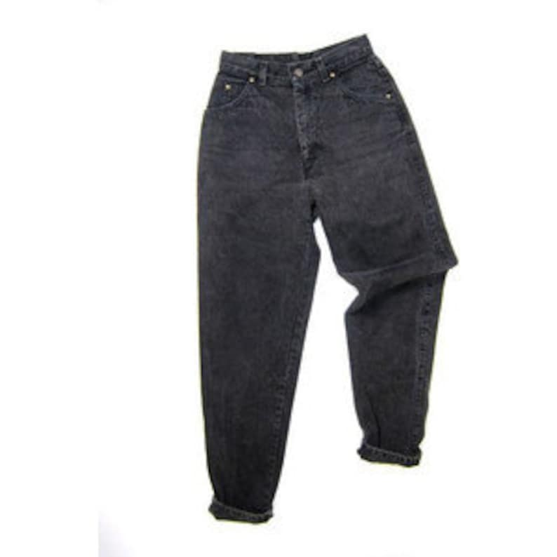 SALE  Black High Waisted Denim Pants image 0