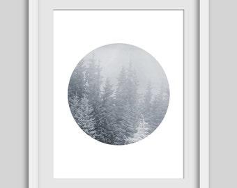Snow Trees, Alpine Art, Snow Artwork, Snowy Decor, Alpine Decor, Black and White, Nature Print, Nature Artwork, Winter Art, Cold Weather Art