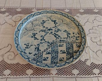 Vintage Blue and Off-White Ming Fabcraft Metal Tin Tray