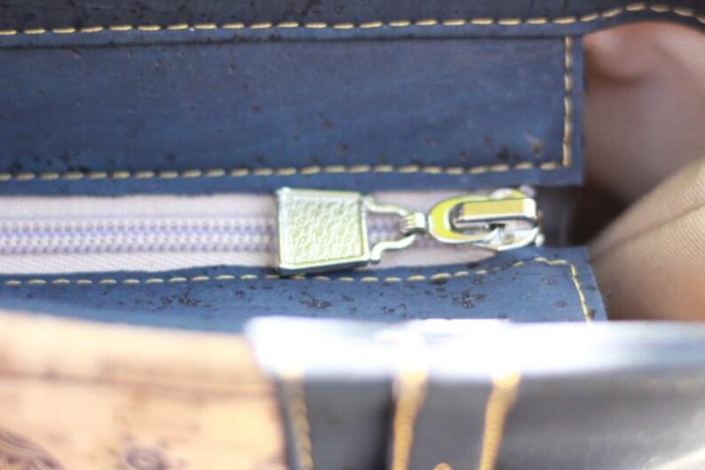 navy blue cork tote cork mandala elephants  handbag purse crossbody bag laptop diaper teacher totes bags purses toiletry bag make up pouch