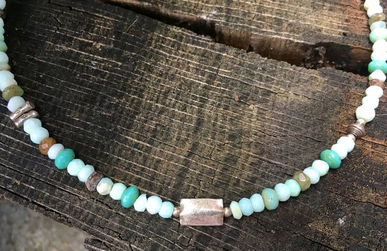 Peruvian Opals with Karen Hill Tribe Silver Beads image 0