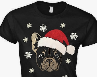 french bulldog christmas t shirt top ladies womens frenchie glitter vinyl christmas hat and snowflakes