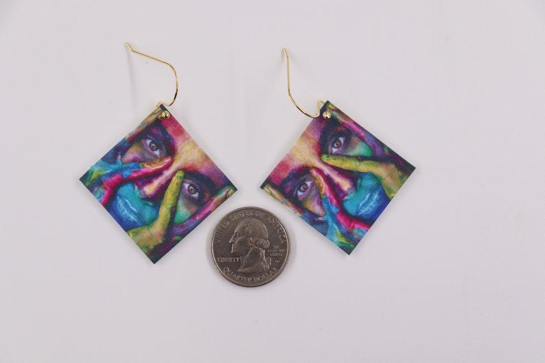 woman/'s face earrings Face earrings abstract earrings