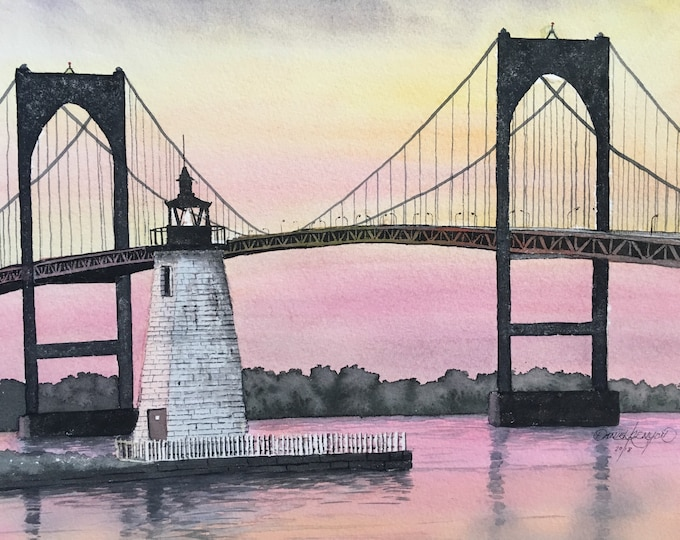 Newport Bridge at Sunset