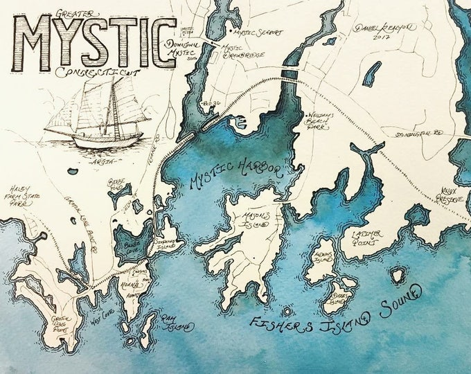 Mystic Watercolor Map