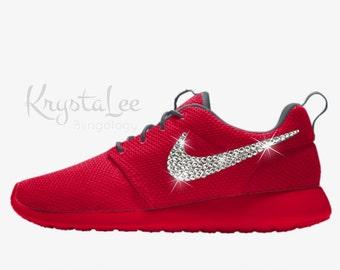 6a9f34dbbf08 ... get womens nike roshe one essential id red custom bling crystal  swarovski sneakers running shoes tennis