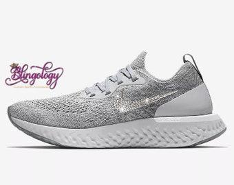 dc9f90b3f291 Womens Nike Epic React Flyknit Wolf Grey Cool Grey Pure Platinum White  Custom Bling Swarovski Sneakers
