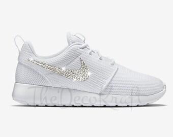 65f3f094c45f Custom Bling Womens Nike Roshe One White Swarovski Crystal Bling Sneakers