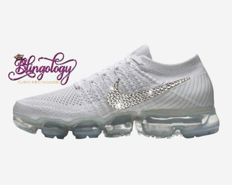 release date c2a3e 81827 Womens Nike Air VaporMax Flyknit String Chrome Grey Custom Bling Swarovski  Sneakers Running Shoes, Tennis Shoes
