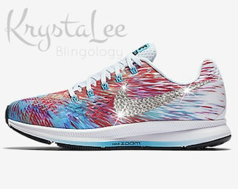 d81c656b065da READY TO SHIP  Womens Nike Air Zoom Pegasus 34 Blue White Pink Custom Bling  Crystal Swarovski Sneakers