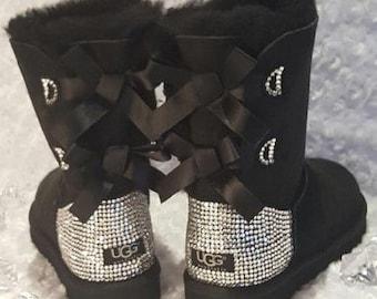 Bling Ugg Bailey Bow, Women's Custom Black Ugg Boots Swarovski Crystal Bling Australian Fur Boots, Snow Boots, Bling Boots