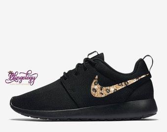 Womens Nike Roshe One Black with Leopard Crystal Swoosh Custom Bling  Crystal Swarovski Sneakers d78df7196