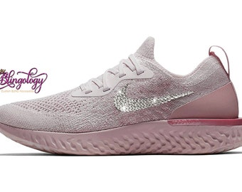 new product b02a0 51f29 Womens Nike Epic React Flyknit Pearl Pink Pearl Pink Barely Rose Custom  Bling Swarovski Sneakers, Running Shoes, Tennis Shoes